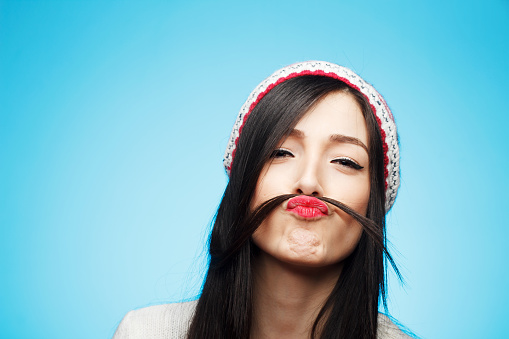 Funny moustache stock photo
