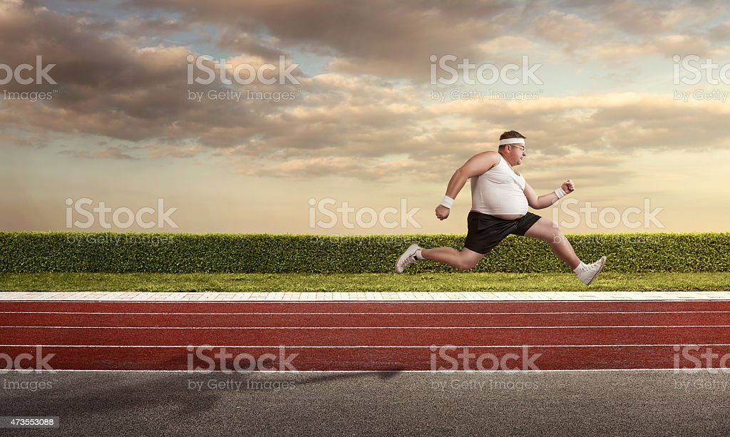 Funny nerd on the run stock photo