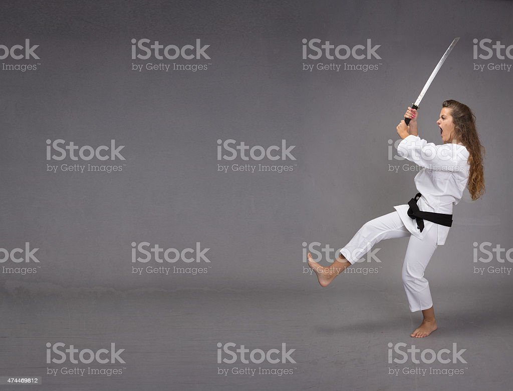 funny ninja attack stock photo
