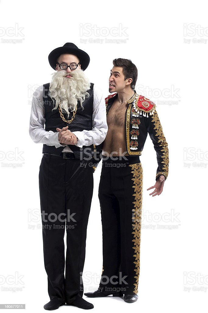 Funny old Jew and toreador royalty-free stock photo