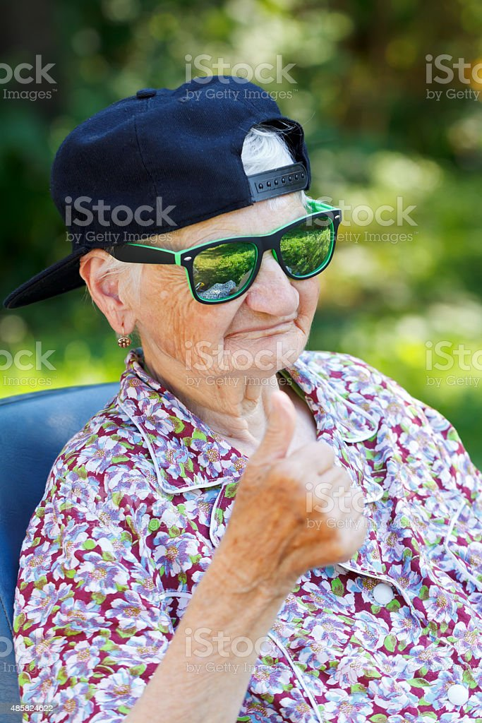 Funny old lady stock photo