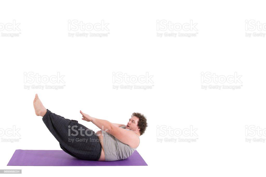 Lustige Ubergewichtiger Mann Und Yoga Weissen Hintergrund Stockfoto