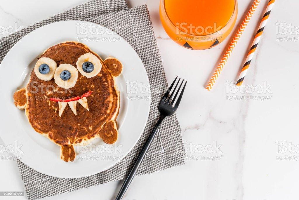 Funny pancakes for Halloween stock photo