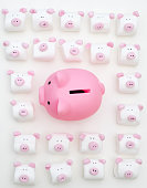 Funny Pink Piggy Bank between Little Marshmallow Pigs on white