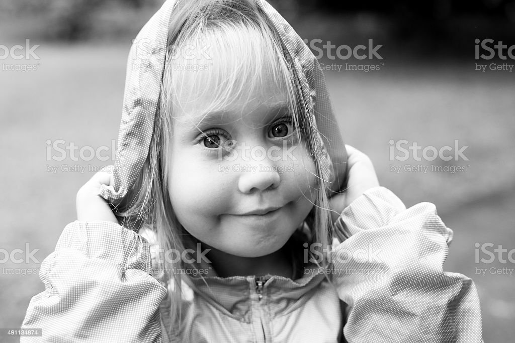 funny portrait of aborable 5 years old girl stock photo