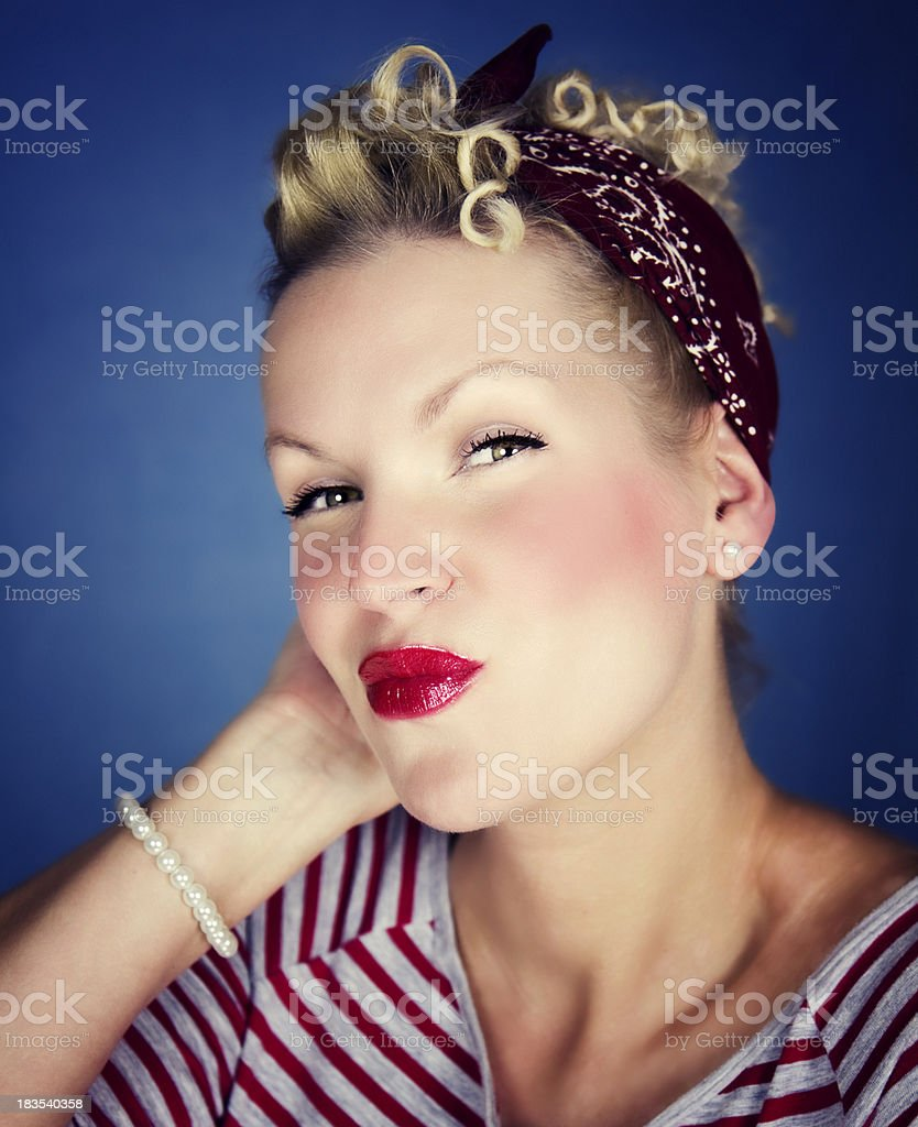 Funny pretty woman with red lips stock photo
