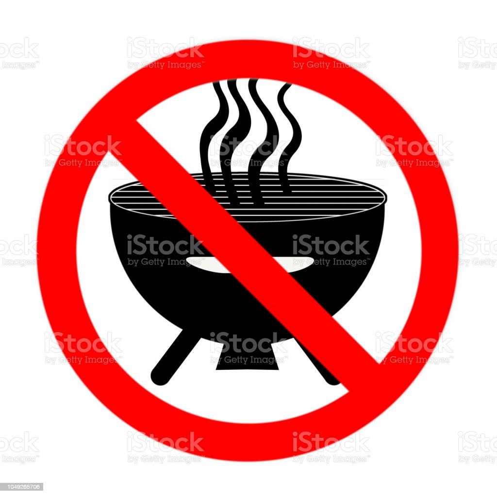 Funny prohibited sign barbecue isolated on white stock photo