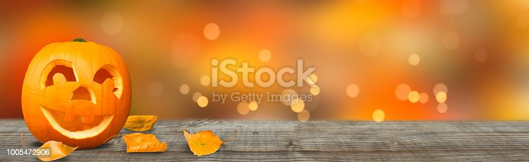 istock funny pumkin on wooden tabletop banner 1005472906