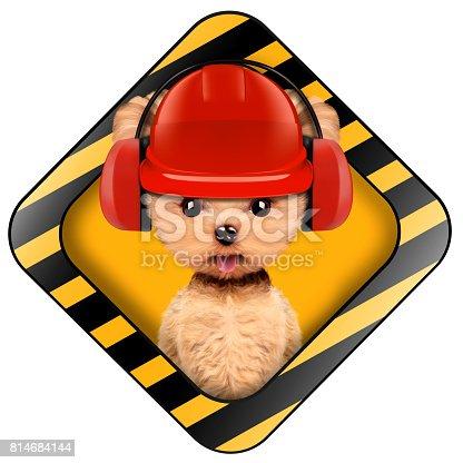 Lustige Welpen Mit Werkzeugen Mit Bauwarnungschild Stockfoto Und