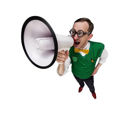 istock Funny retro nerd with megaphone 535460084