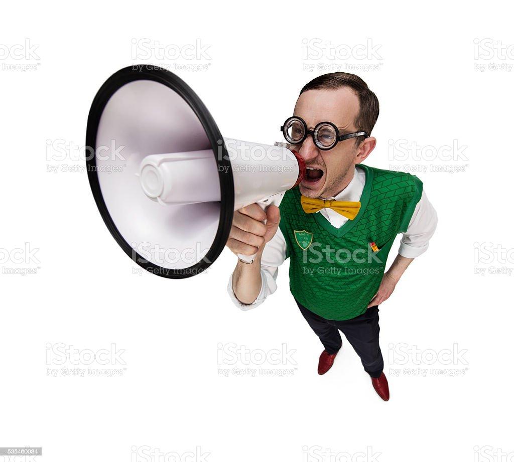 Funny retro nerd with megaphone stock photo