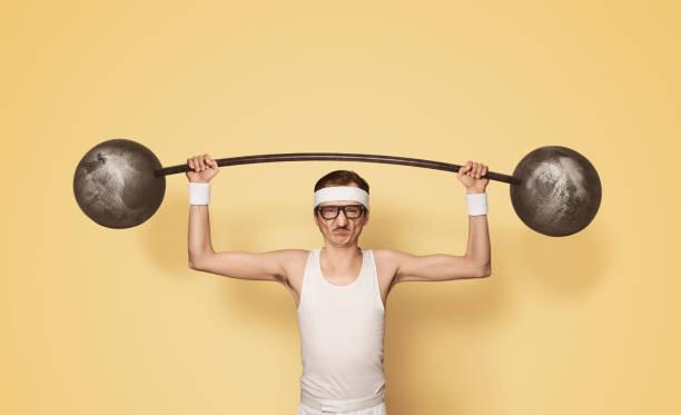 Lustige retro Sport Nerd Gewichte heben – Foto