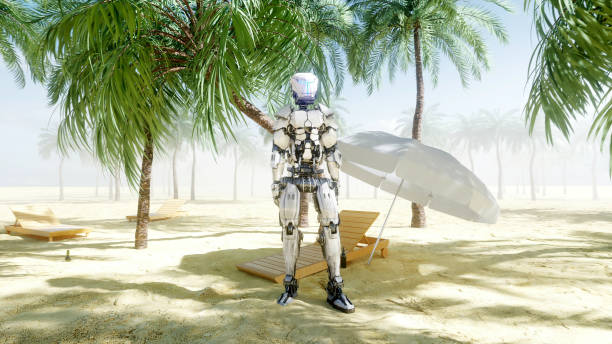 Funny robot dancing on sunny seaside. Tourism and rest concept. 3d rendering. stock photo