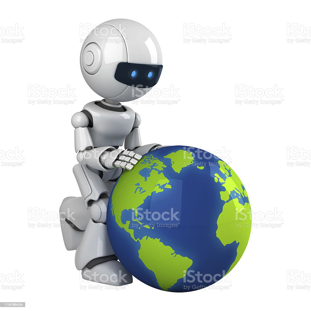 Funny robot with globe stock photo more pictures of color image cyborg map robot world map color image funny robot with globe gumiabroncs Choice Image