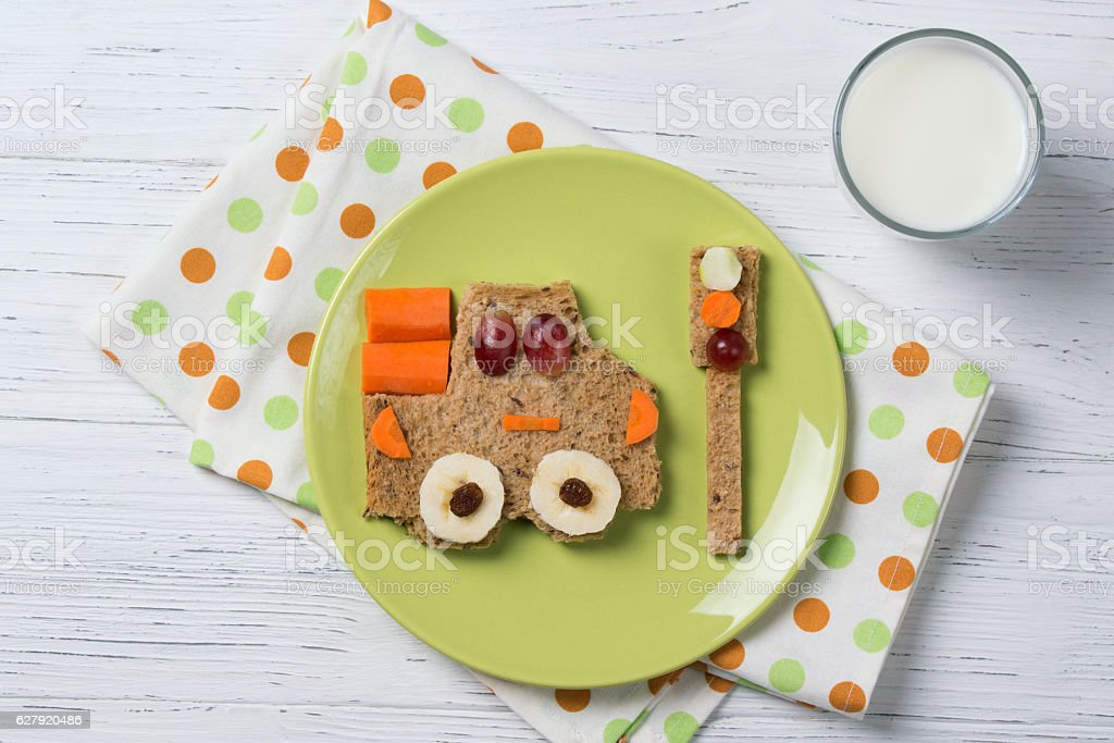 Funny sandwich with car and traffic light, meal for kids stock photo
