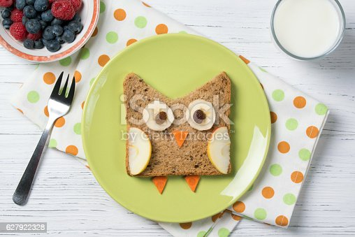 istock Funny sandwich with owl and berries, meal for kids idea 627922328