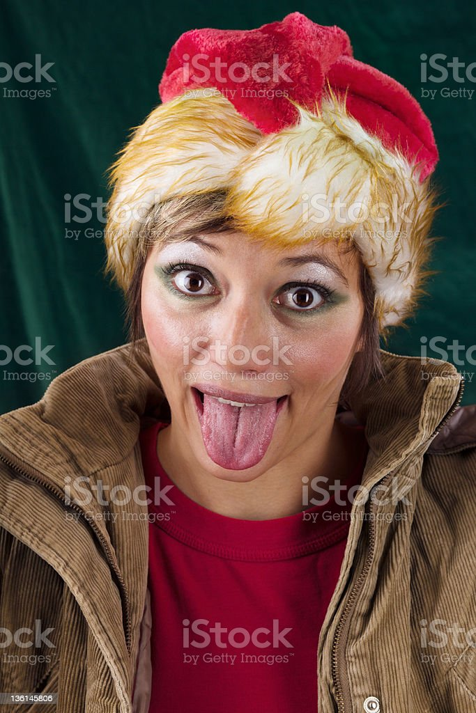 Funny Santa Claus sticking out tongue royalty-free stock photo