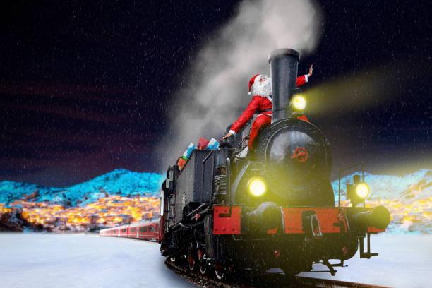 funny santa on train stock photo