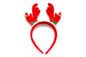 istock Funny Santa reindeer headband horns isolated on white background 607252628