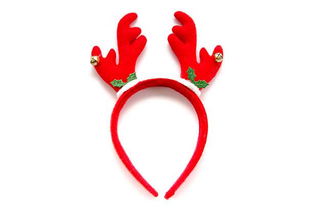 funny santa reindeer headband horns isolated on white background - geweih stock-fotos und bilder