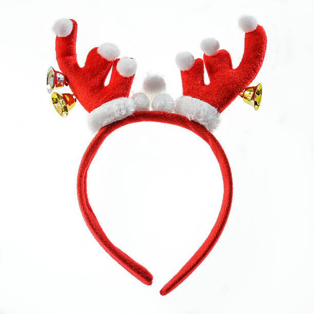 funny santa reindeer headband isolated on white background. - antlers stock photos and pictures