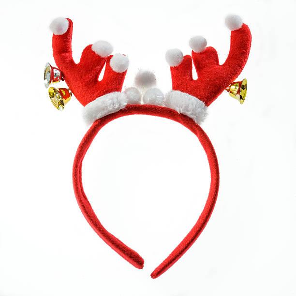 lustige santa rentier-stirnband, isoliert auf weißem hintergrund. - geweih stock-fotos und bilder