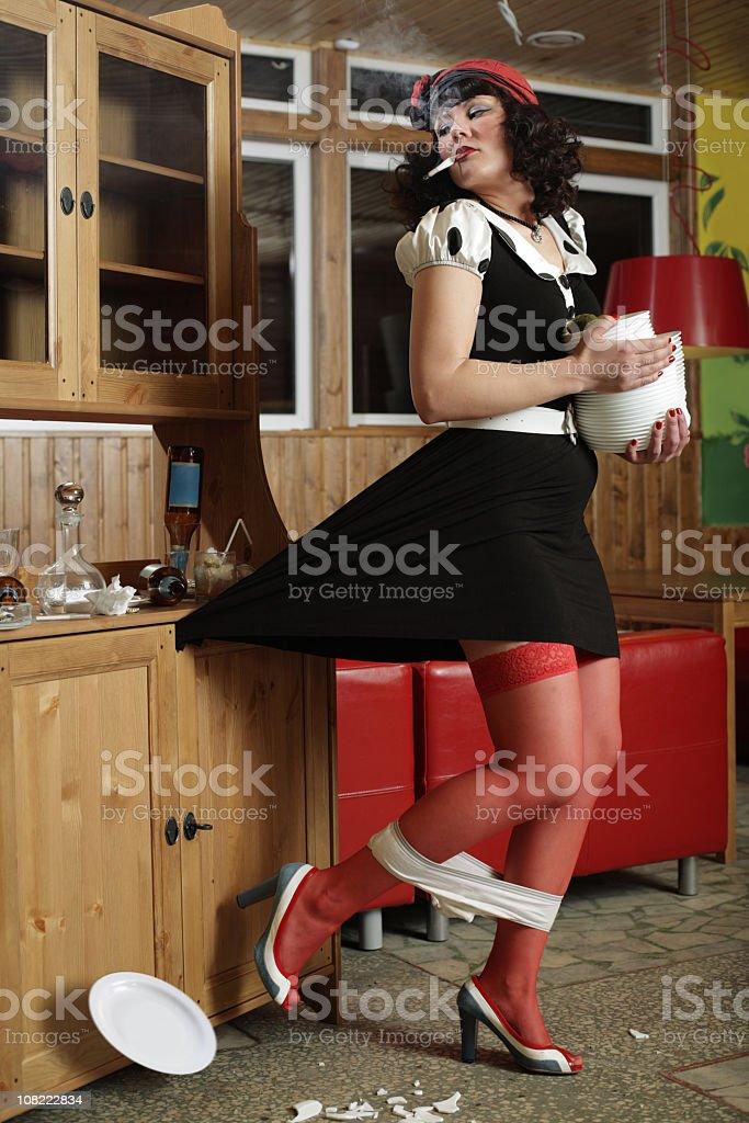 funny scene, the waiter in a restaurant stock photo