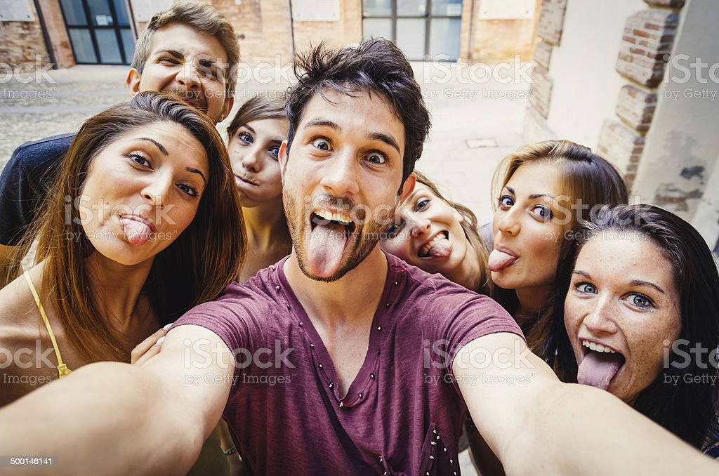 Funny Selfie In The City stock photo