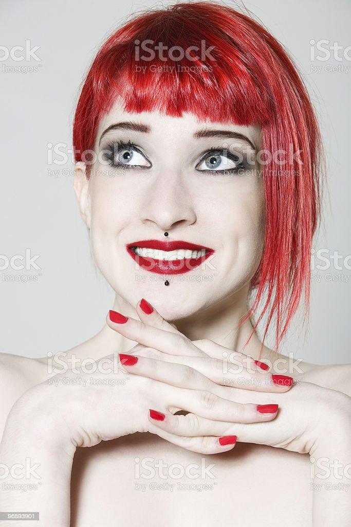 Funny & sexy expressive redhead girl royalty-free stock photo