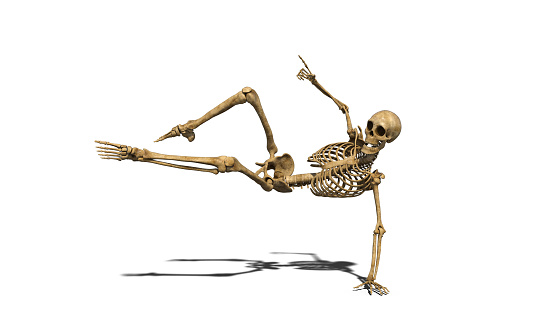 Photo Libre De Droit De Drole Squelette Danse Sur La Piste Squelette Humain Exerce Sur Fond Blanc 3d Render Banque D Images Et Plus D Images Libres De Droit De Anatomie Istock