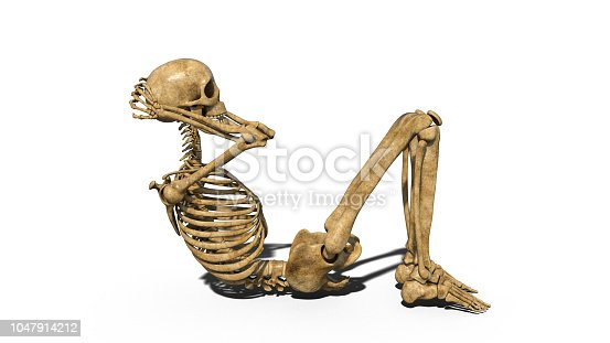 Funny skeleton doing curl ups, human skeleton exercising abs muscles on white background, 3D rendering
