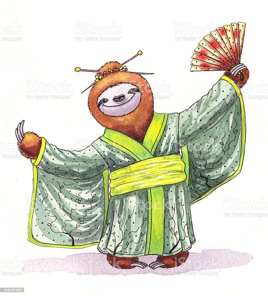 Funny Sloth In A Kimono Watercolor Illustration Stock Photo & More ...