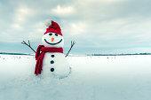 赤い帽子に変な雪だるま
