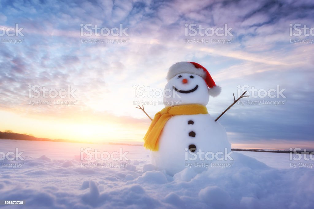 Funny snowman in Santa hat stock photo