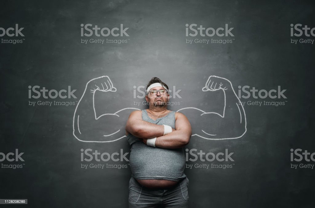 Funny sports nerd with huge muscle arms drawn on the gray background...