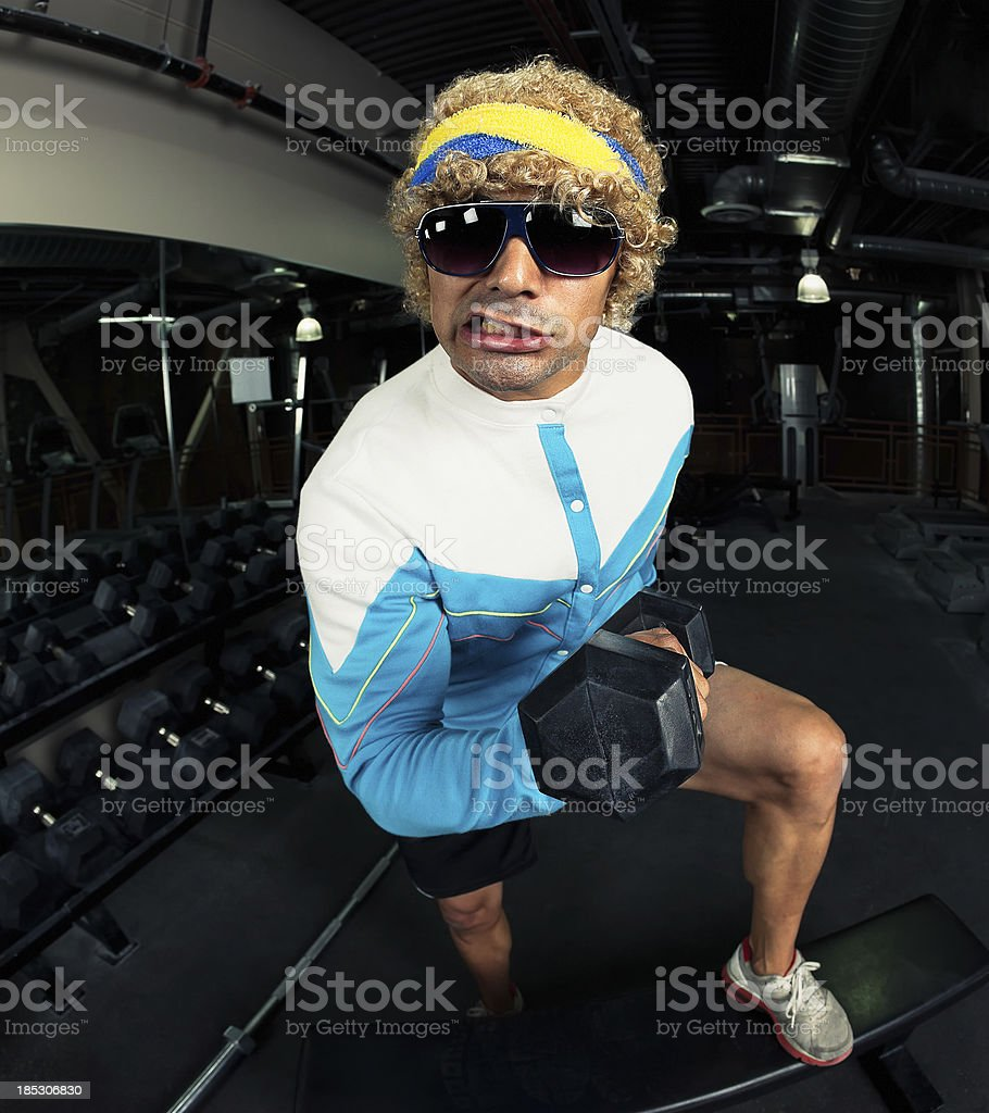 Funny Strong Man - The Gun Show royalty-free stock photo