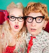 istock Funny surprised nerdy couple 177134334