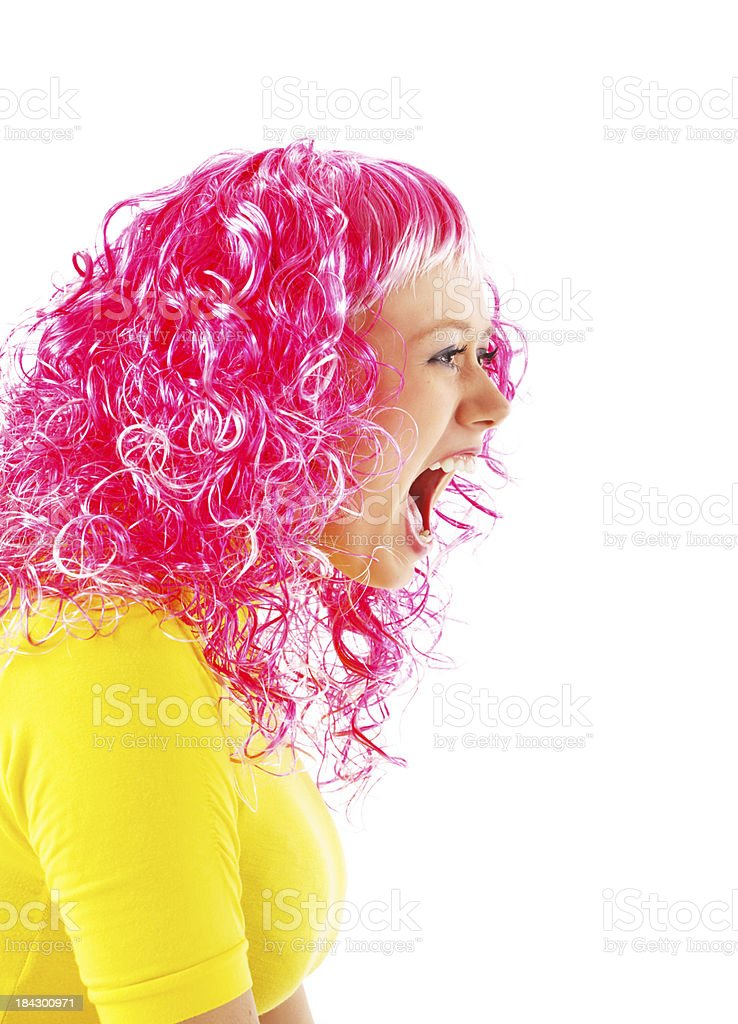 Funny teenager wearing a wig and screaming. royalty-free stock photo