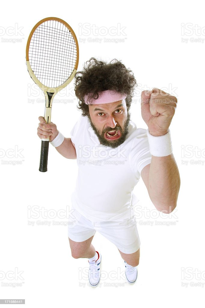Funny Tennis Player - Angry stock photo