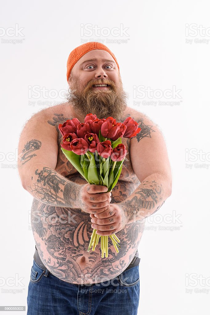 Funny Thick Guy Giving Bouquet With Joy Stock Photo  More -3795