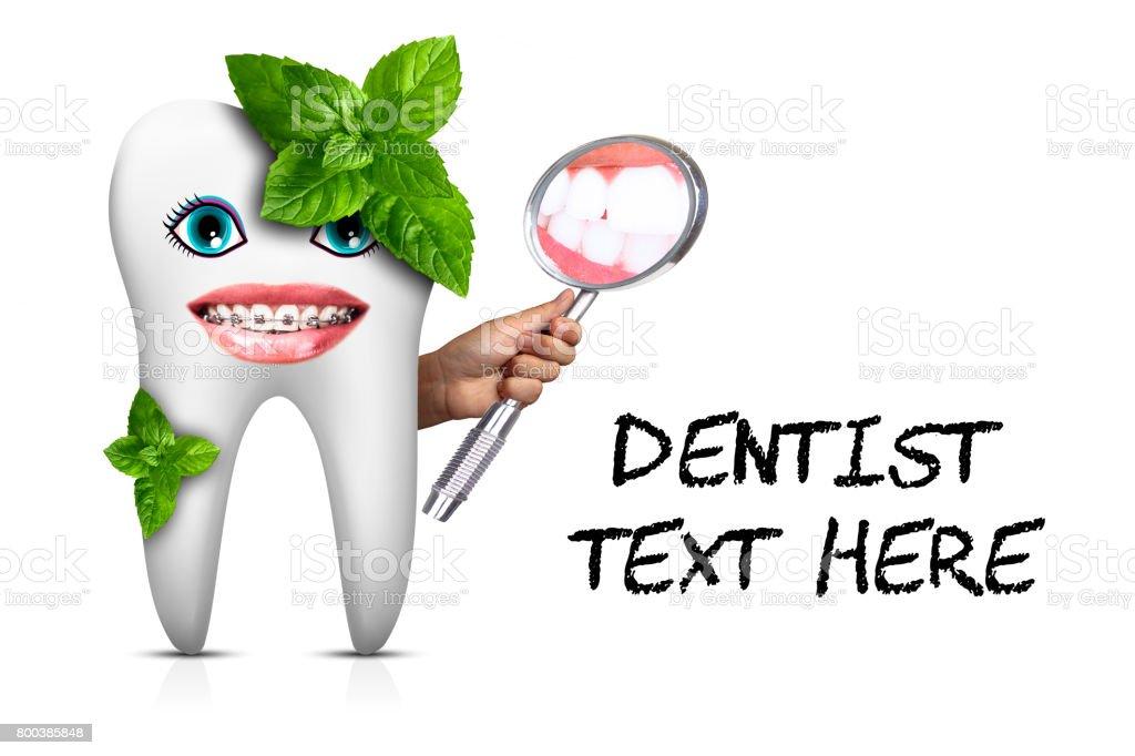 Lustige Zahn Mit Spiegel Mundhygiene Gesunde Zähne Schönes ...