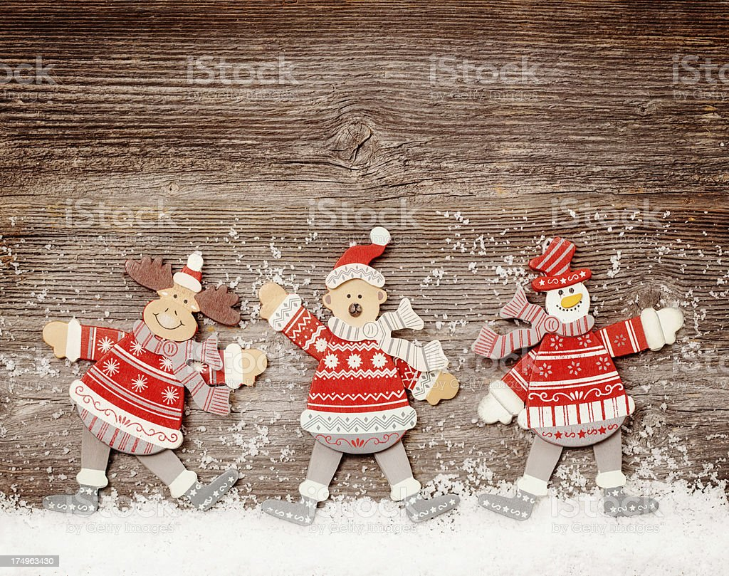 Funny toys on wooden background royalty-free stock photo