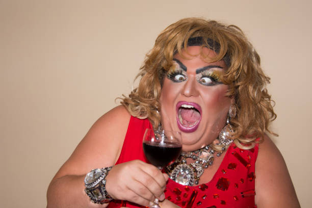 funny travesty actor. drag queen. - funny fat lady stock photos and pictures