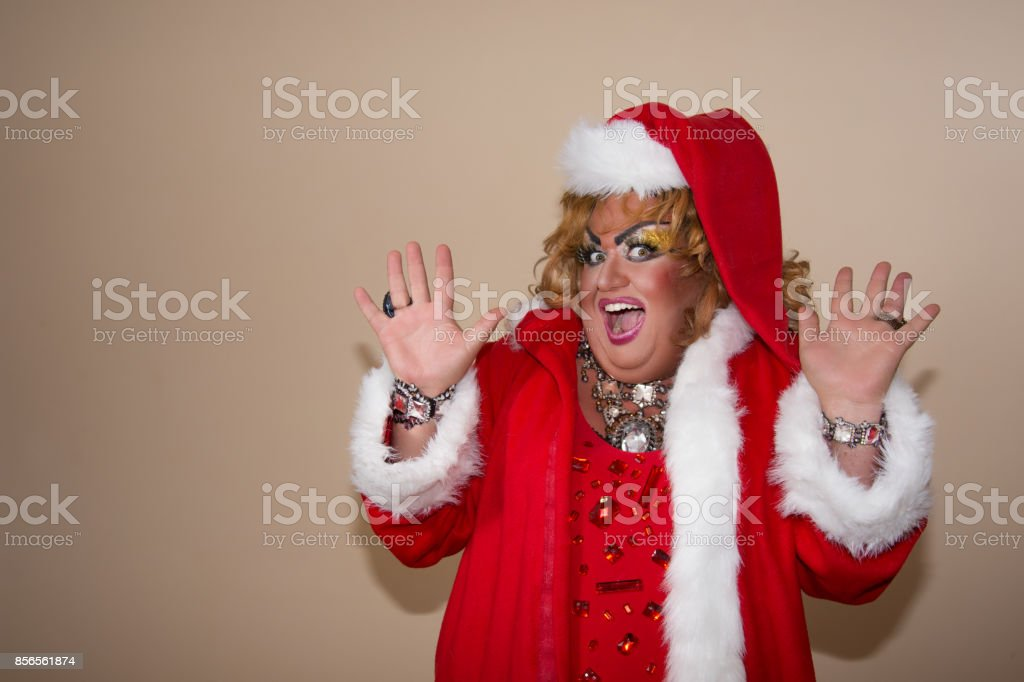 Funny travesty actor. Drag queen. stock photo