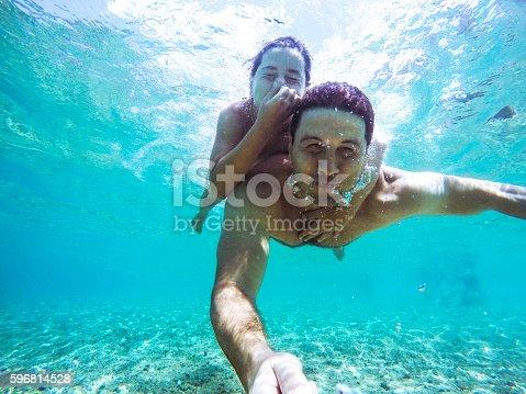 596350174istockphoto Funny underwater selfie 596814528