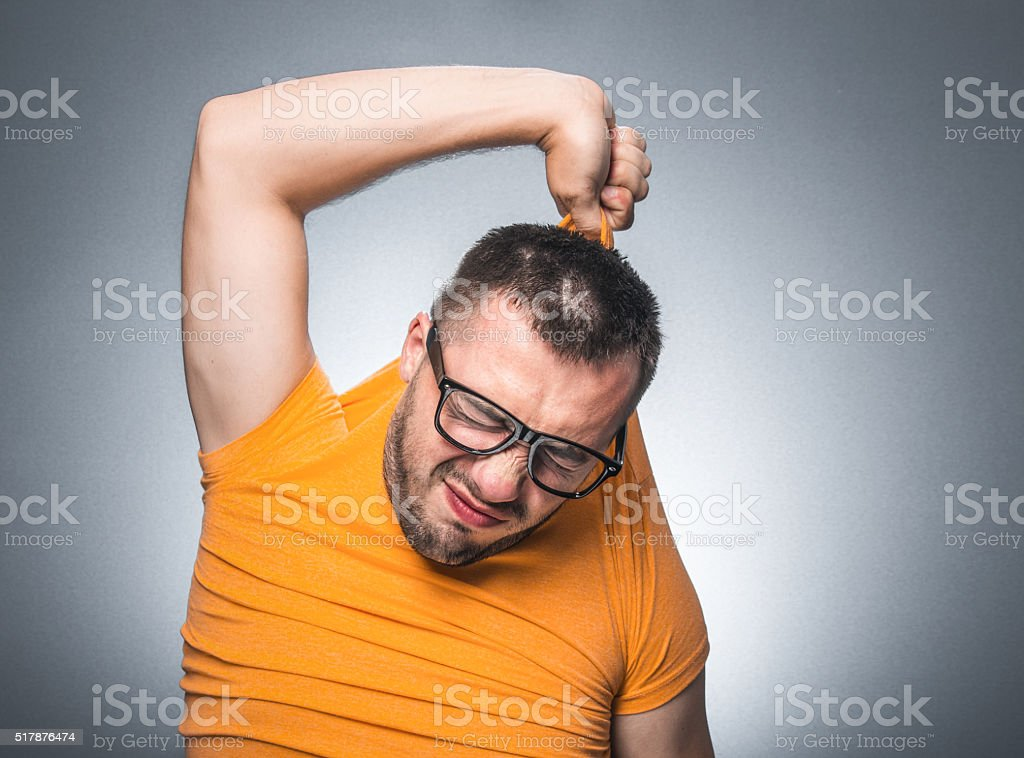 Funny undressing stock photo