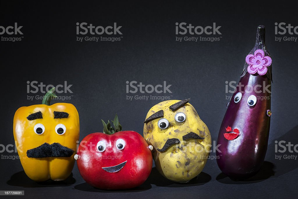 Funny vegetables stock photo