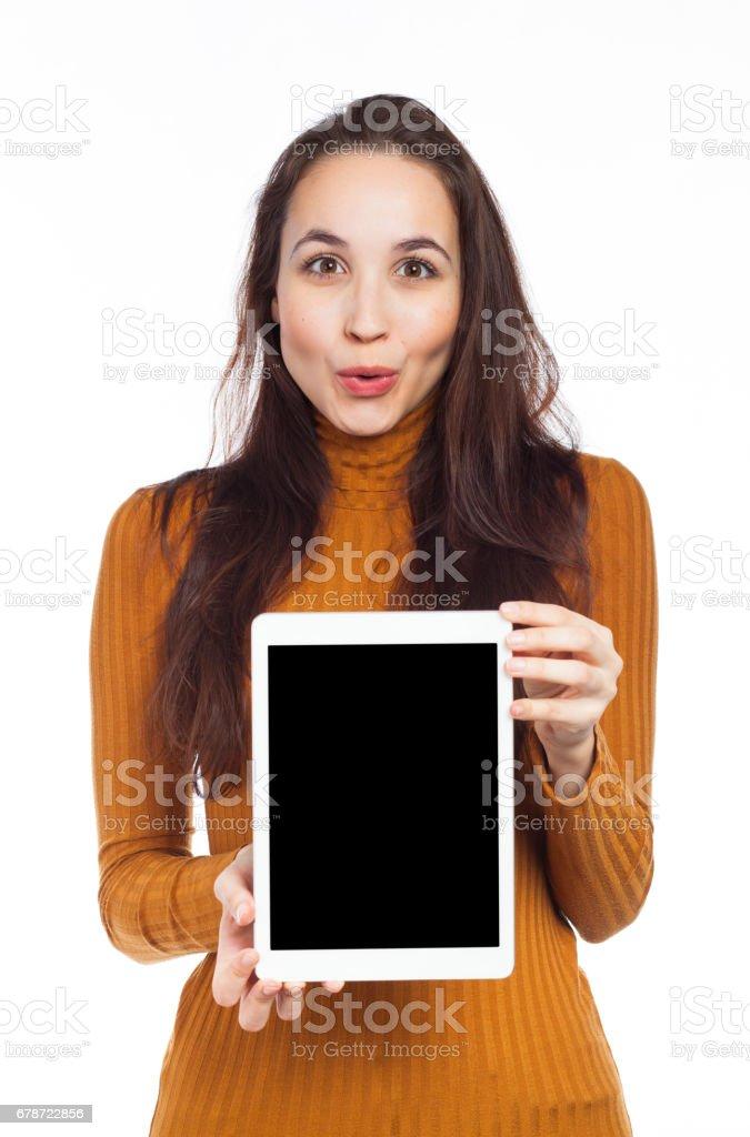Funny woman and digital tablet photo libre de droits