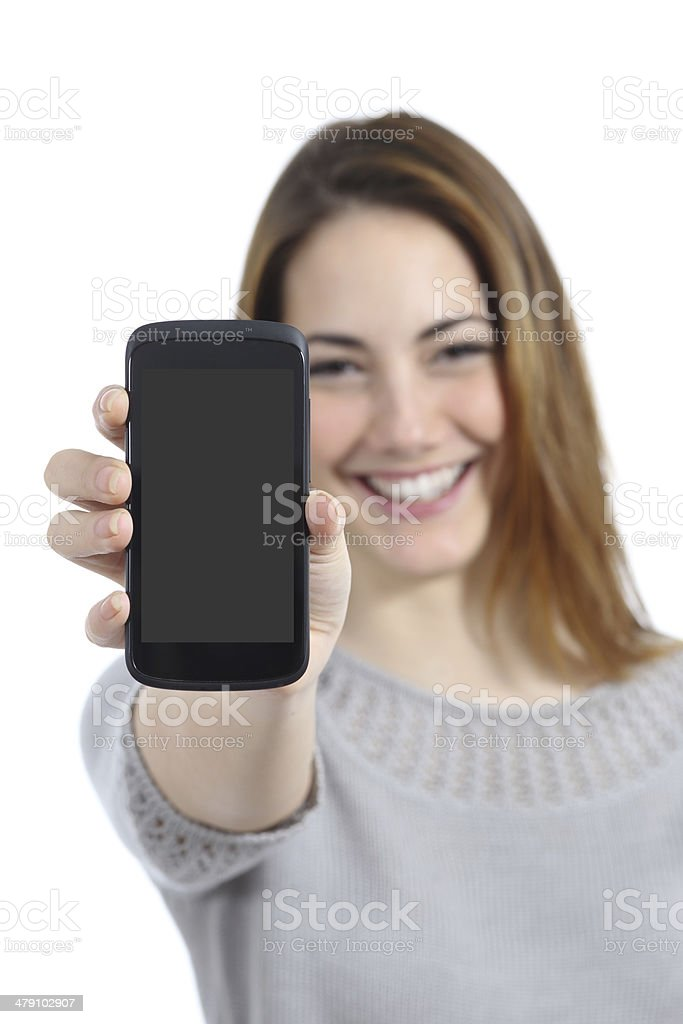 Funny woman showing a blank smart phone display stock photo