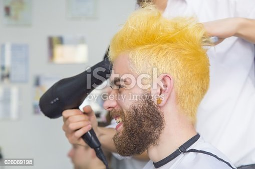 istock Funny yellow hair 626069198